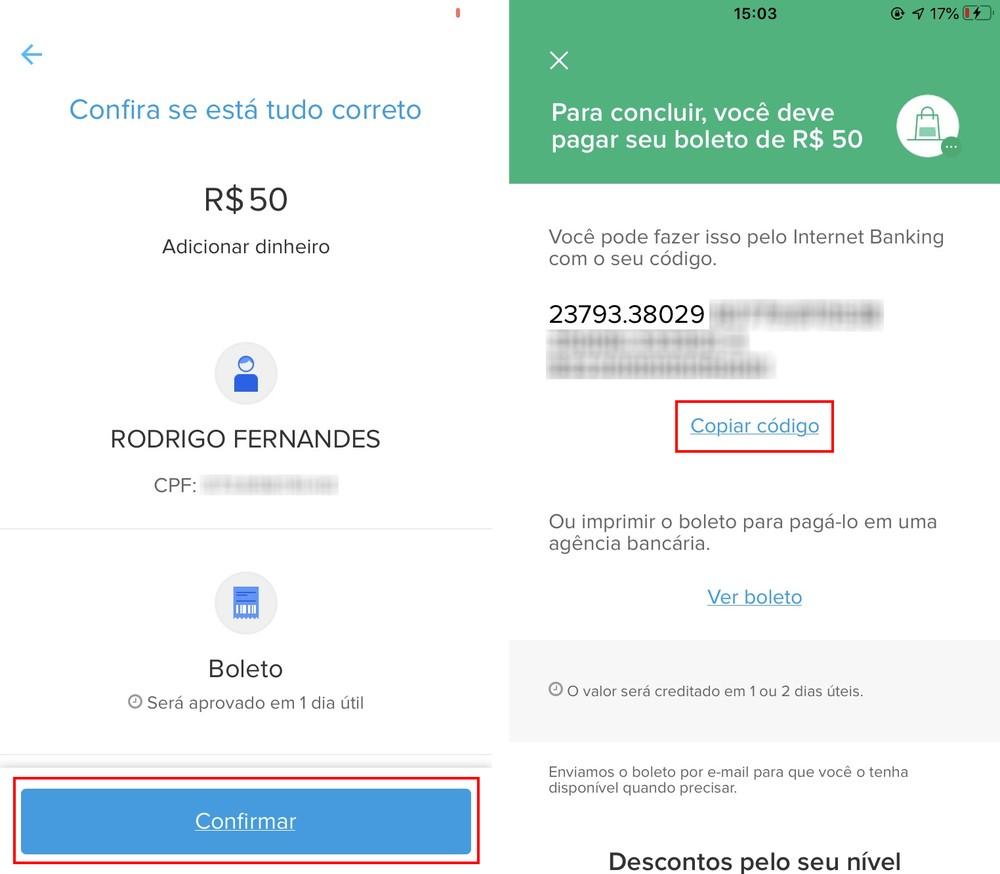 É possível copiar o código do boleto do Mercado Pago — Foto: Reprodução/Rodrigo Fernandes