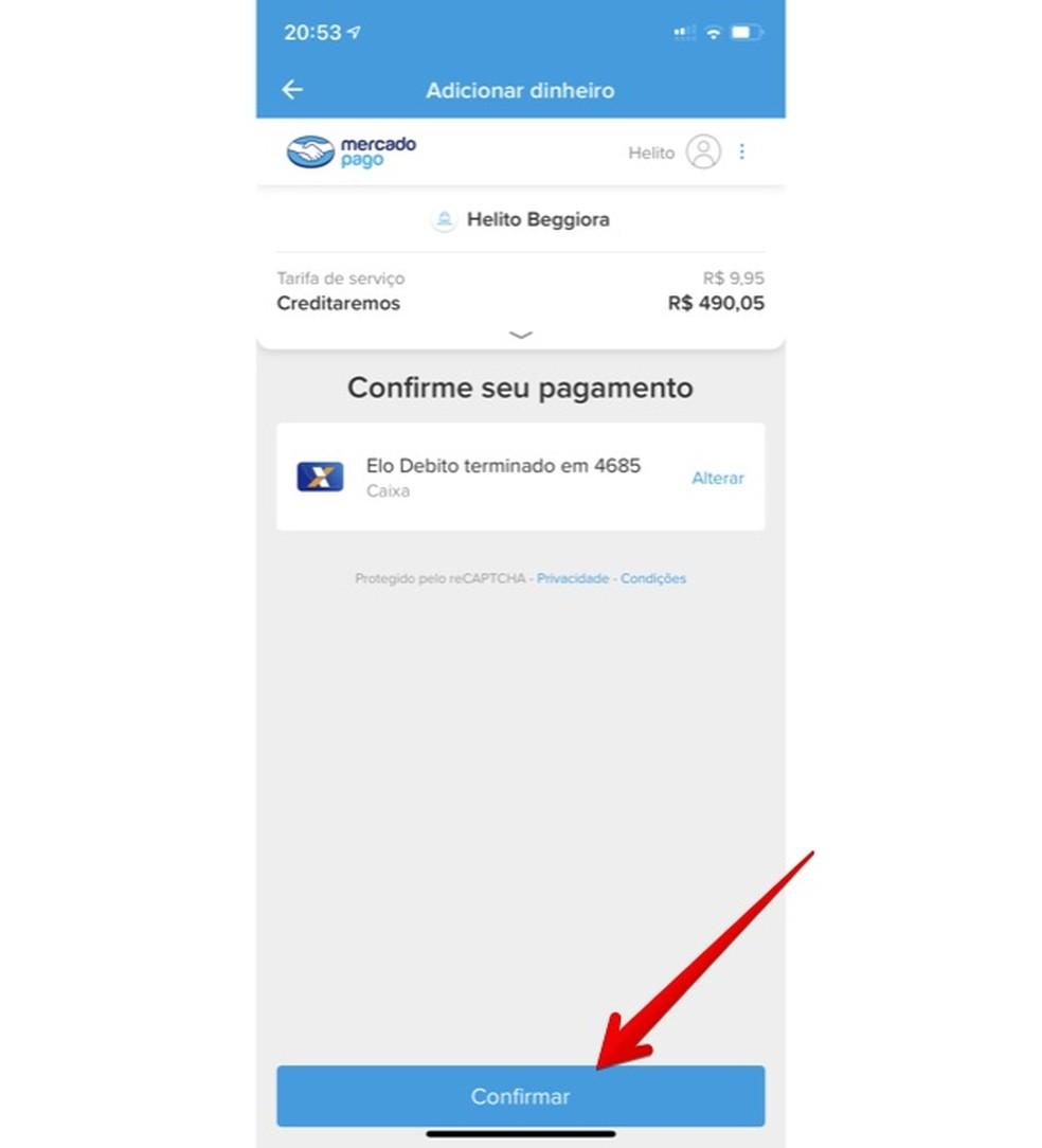 Confirmando transferência do Caixa Tem para Mercado Pago — Foto: Reprodução/Helito Beggiora
